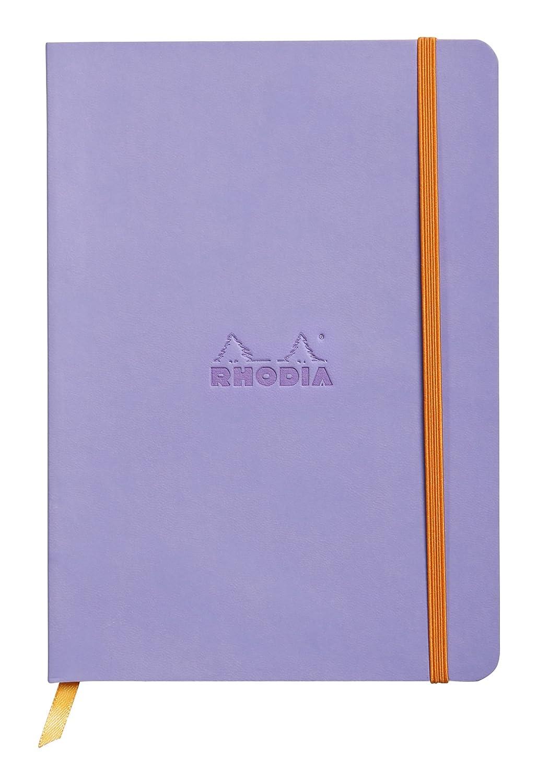 Clairefontaine Rhodiarama Carnet souple 160 pages ivoire dot à points à élastique A5 90 g Iris (117465C) C Rhodia 117459C Techniques artistiques