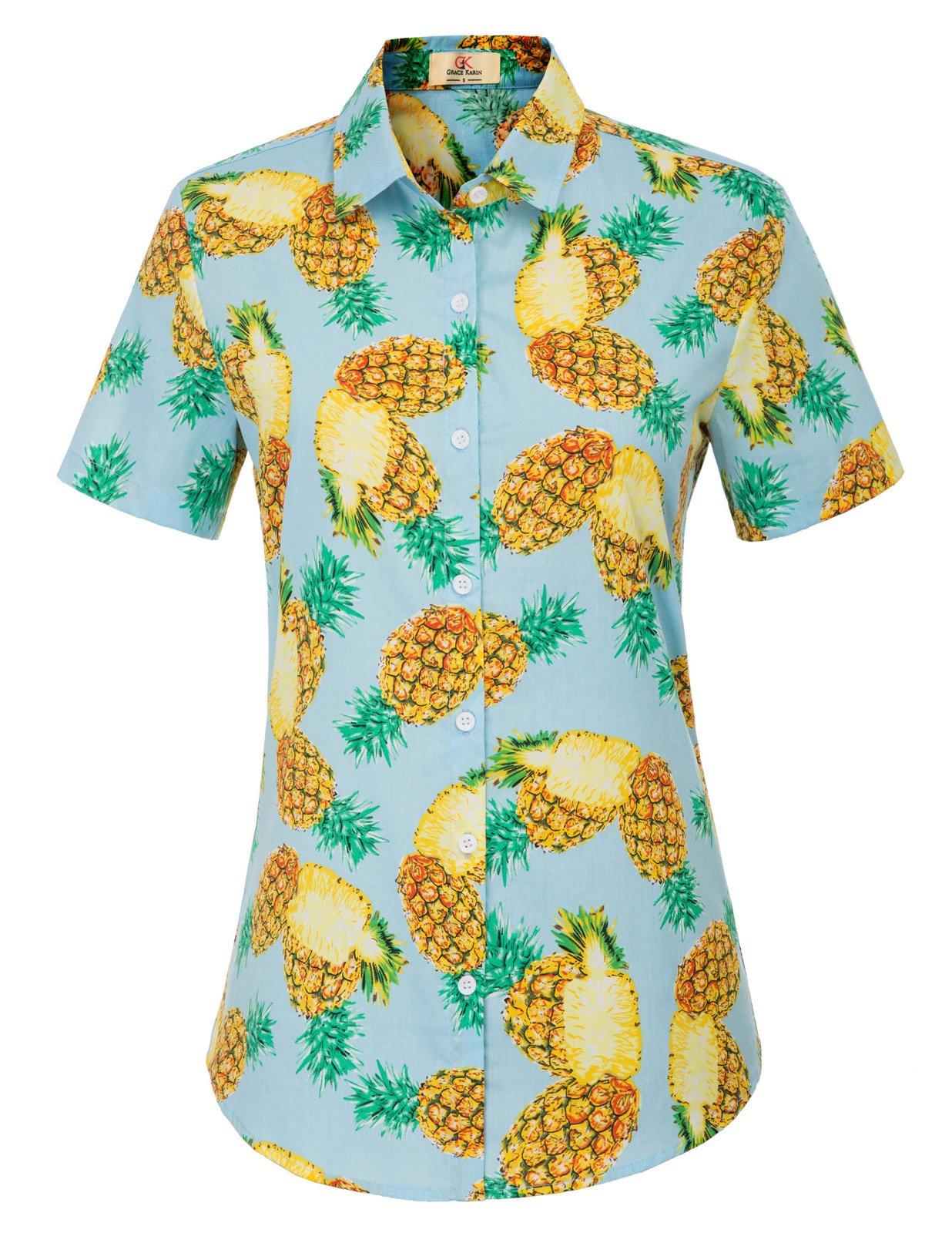 Women Relaxed Regular Fit Beach Holiday Button-Down Shirt XXL Light Blue