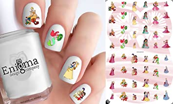 disney princess christmas nail decals set of 50 clear water slide - Disney Christmas Nails