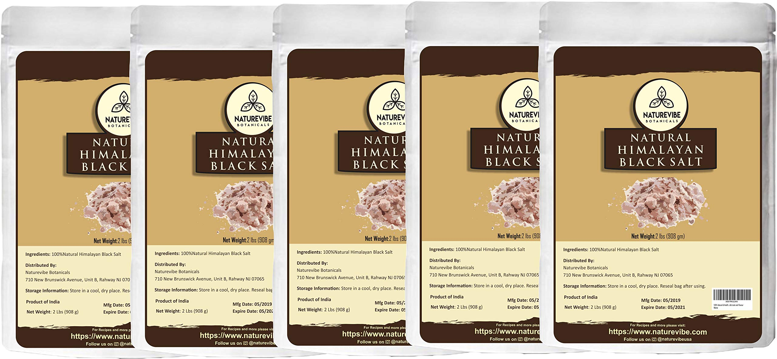 Naturevibe Botanicals 100% Natural Himalayan Black Salt -10lbs (5 Pack of 2lbs Each), Gluten-Free & Non-GMO (Fine - Cooking Size)   Adds taste and Flavour [Packaging may vary] by Naturevibe Botanicals
