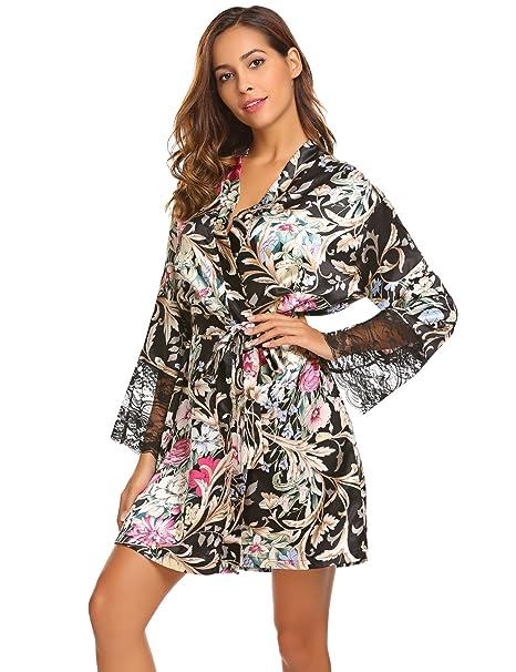 215aca695bb Ekouaer Women s Floral Short Kimono Robe Long Sleeve Lace Trim Dressing Gown   Amazon.co.uk  Clothing
