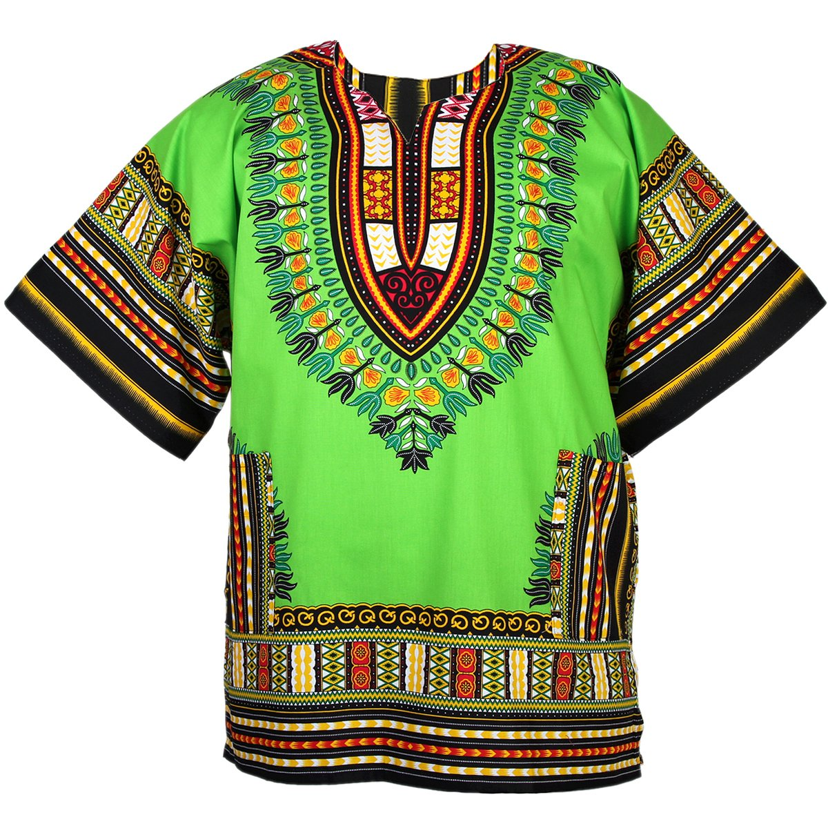 African Dashiki Cotton Mexican Poncho One Size Fits Most Shirt Green ad073t