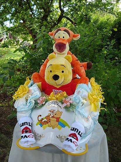 "Windeltorte ""Winnie Pooh-Baby Töpfchen y Winnie the Pooh y Tigger con sonar"""