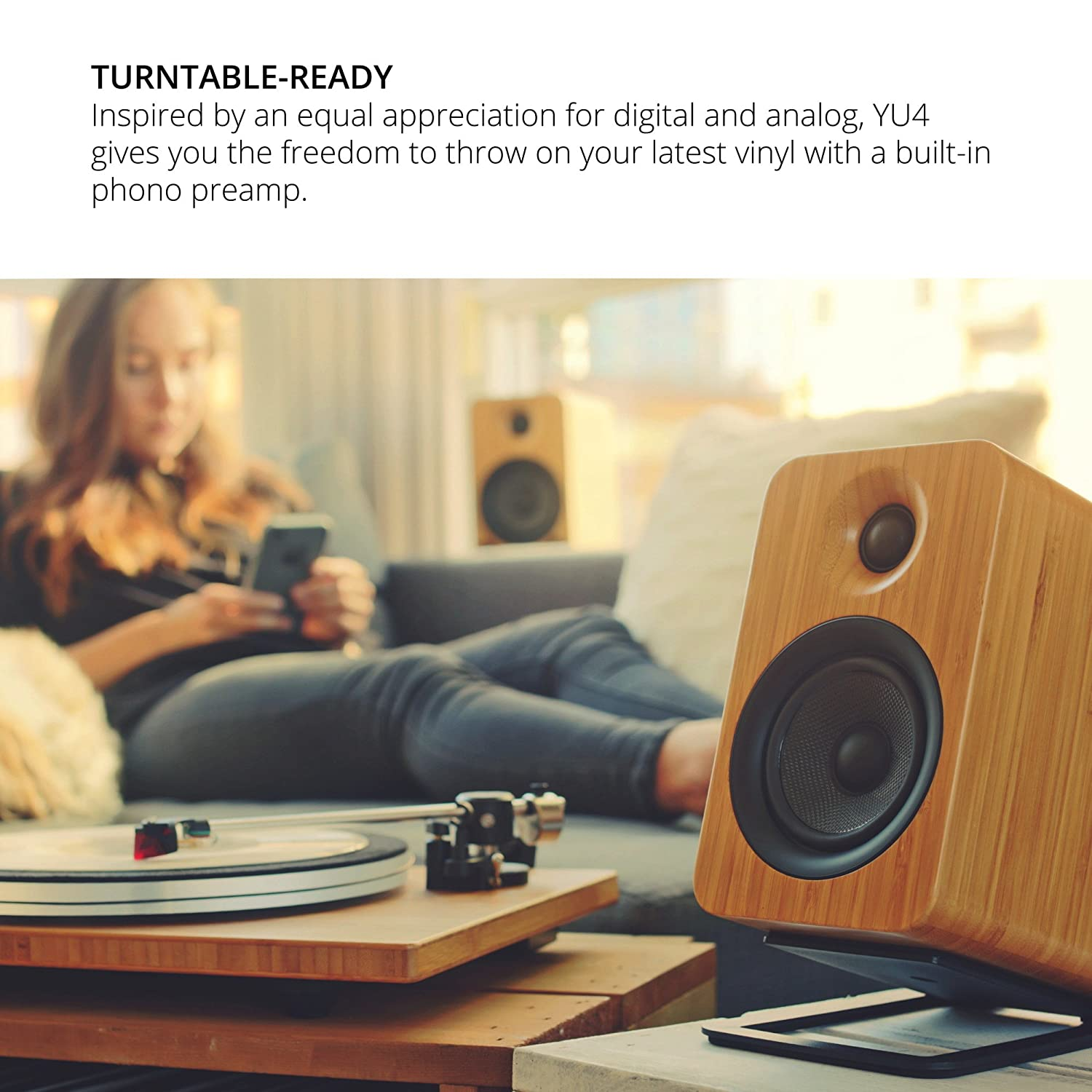 Matte White Kanto YU4 Powered Speakers with Bluetooth and Phono Preamp