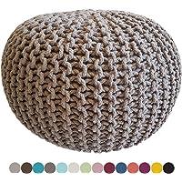 Pouf tricoté Ø 55 cm, Extra Hauteur 37cm