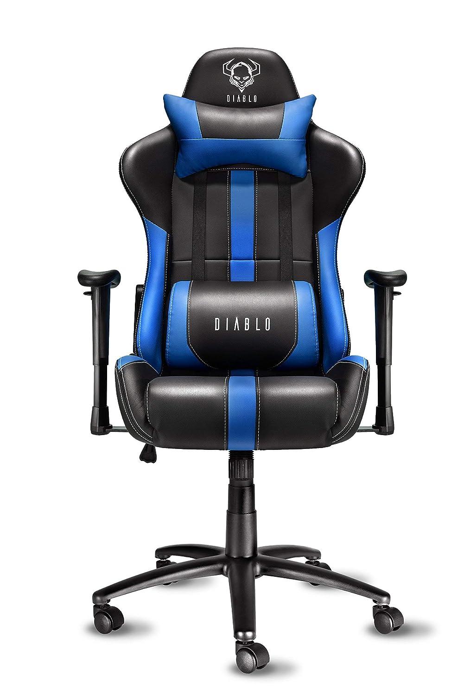 Diablo X-Player Silla Gaming Reposabrazos Ajustables Almohada Y Cojin Lumbar Mecanismo De Inclinación Cuero Sintético, Negro/Azul,: Amazon.es: Hogar