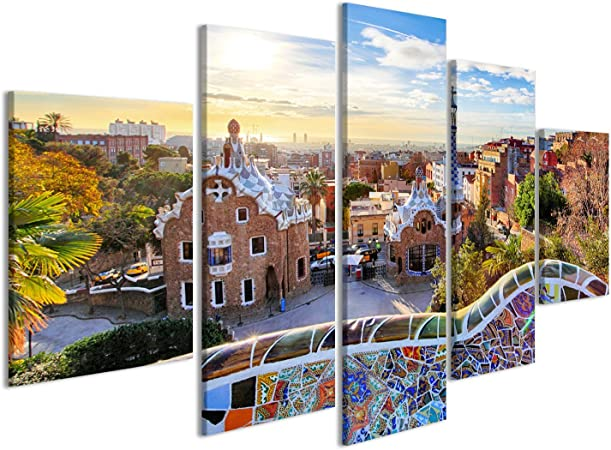 islandburner Cuadro Cuadros Barcelona - Park Guell, España Impresión sobre Lienzo - Formato Grande - Cuadros Modernos IIW: Amazon.es: Hogar