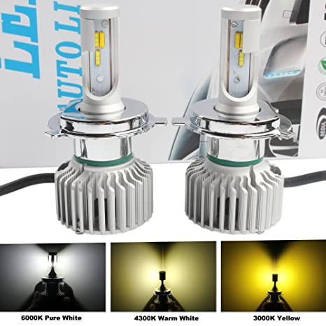 ANFTOP 2X LED Faro Bombillas H4 9003 HB2 6000K / 4300K / 3000K blanco / Amarillo