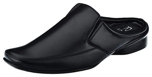Raw Men's Black Leather Open Back Shoes