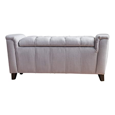 Christopher Knight Home 299249 Living Perris Light Grey Fabric Armed Storage Bench,