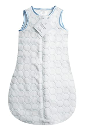 Pastel Blue Puff Circles 3-6MO SwaddleDesigns Microplush Sleeping Sack with 2-Way Zipper