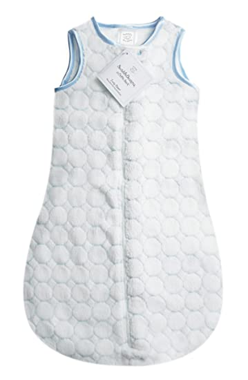 SwaddleDesigns Microfleece Sleeping Sack with 2-Way Zipper Blue Puff Circles 0-6MO