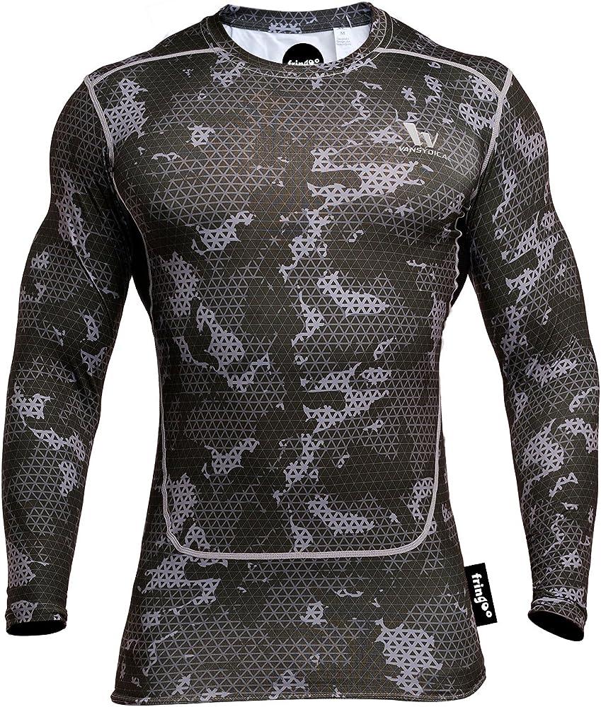 Fringoo - Camiseta térmica de compresión para entrenamiento y fitness, para hombre, con manga larga y cuello redondo, ajustada: Amazon.es: Ropa y accesorios