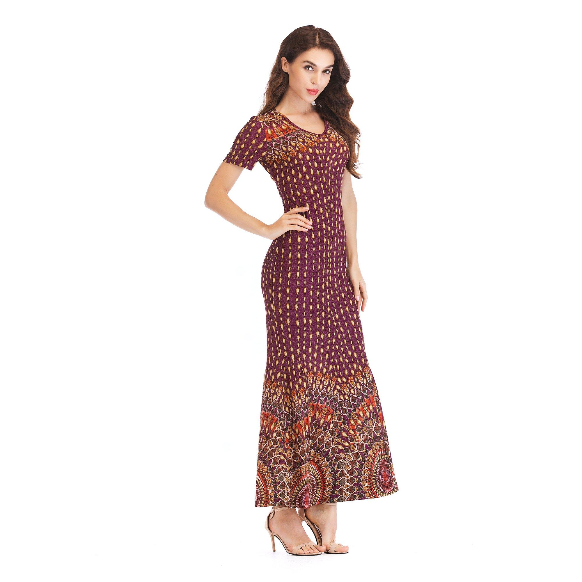 Cy1983 Women's Knit V-Neck Bag Hip Slim Long Dress Positioning Fishtail Skirt (Large, Purple)