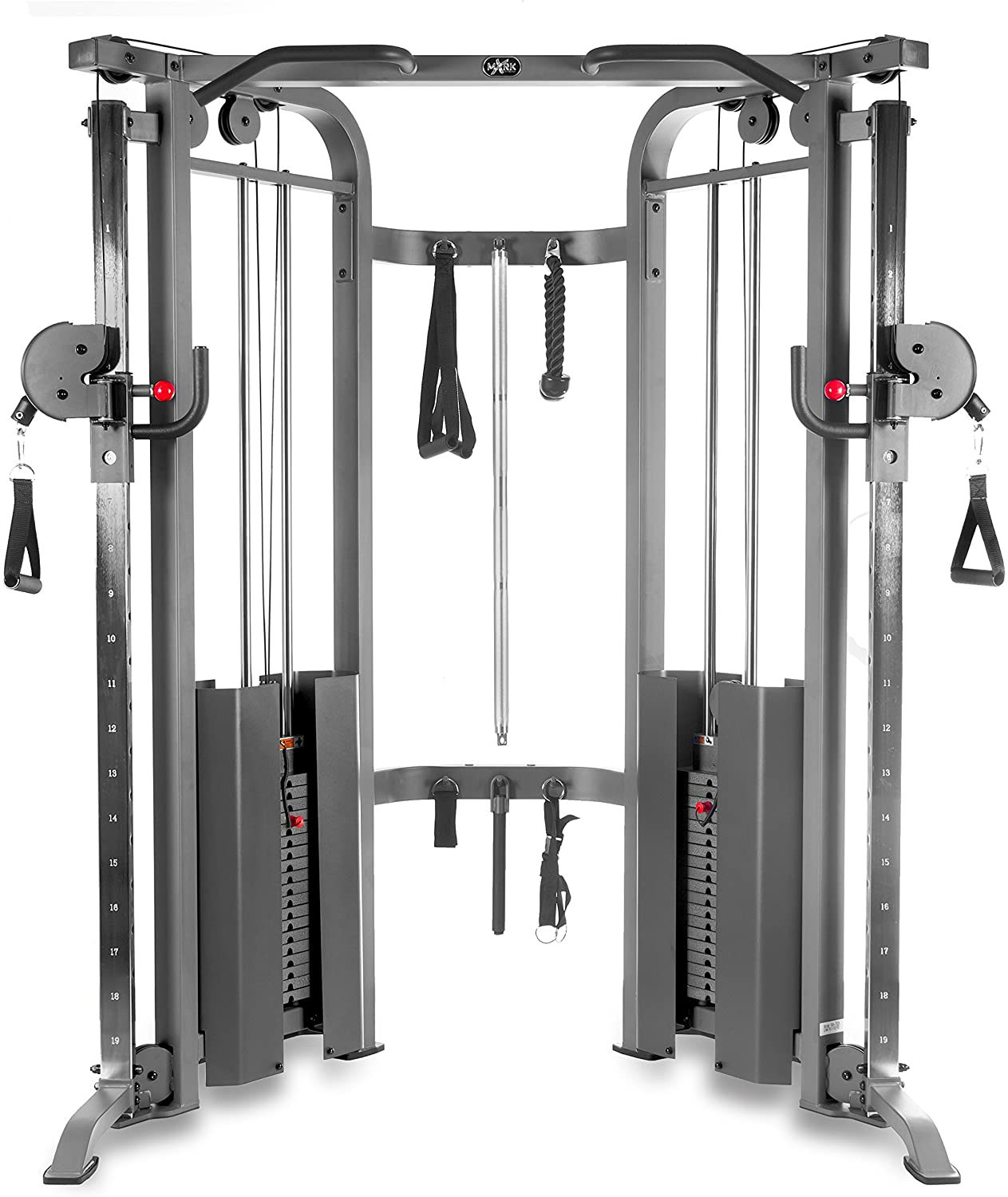 XMark Fitness XM-7626 Functional Trainer Cable Machine with Dual 200 lb Weight Stacks, 19 Adjustments