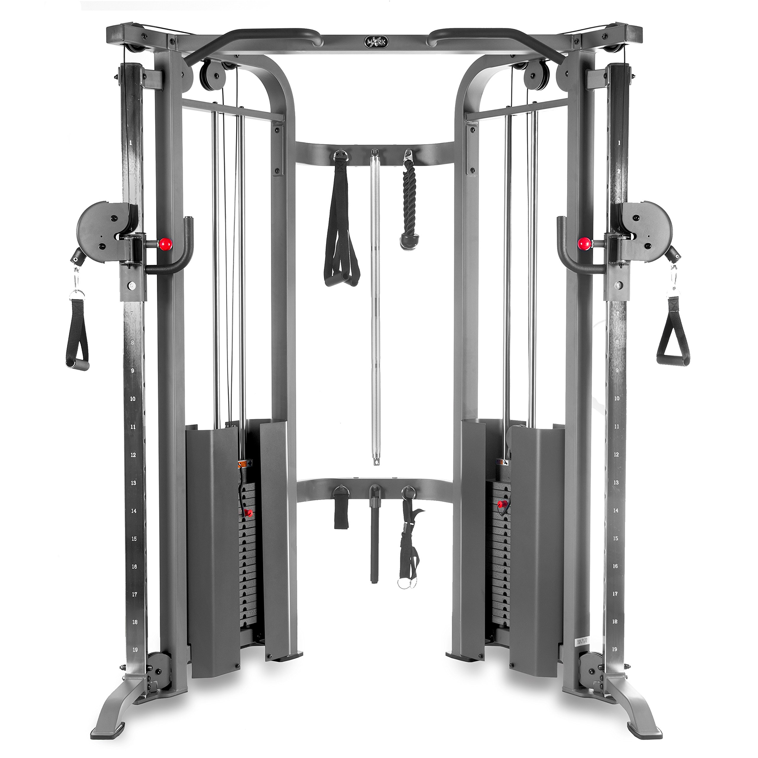 XMark Functional Trainer Cable Machine Dual 200 lb Weight Stacks Gray White 19 Adjustments an Upgraded Accessory Package
