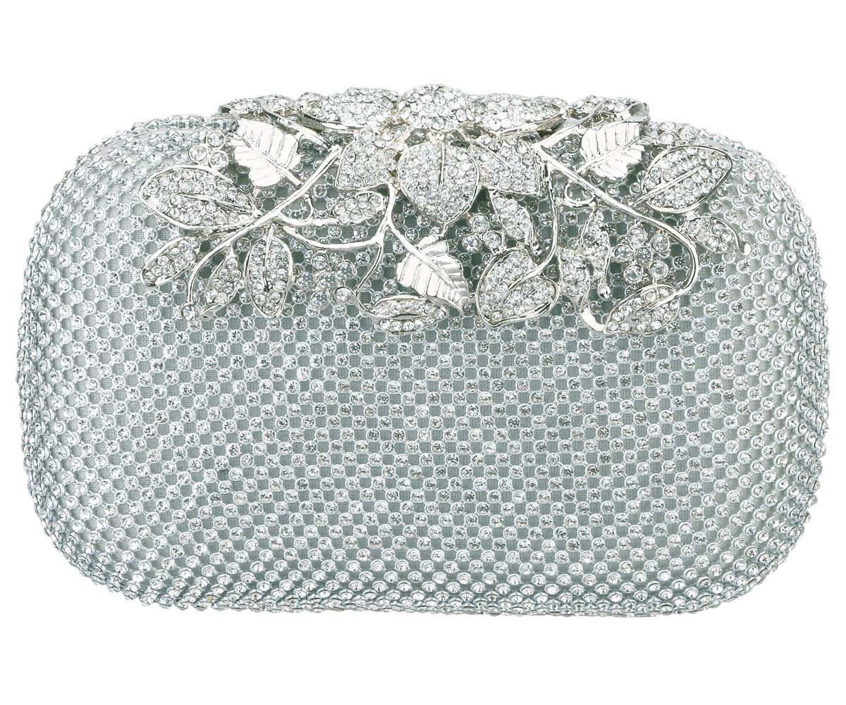 Charming Tailor Evening Bag for Women Chic Bling Floral Rhinestones Party Clutch (Silver)