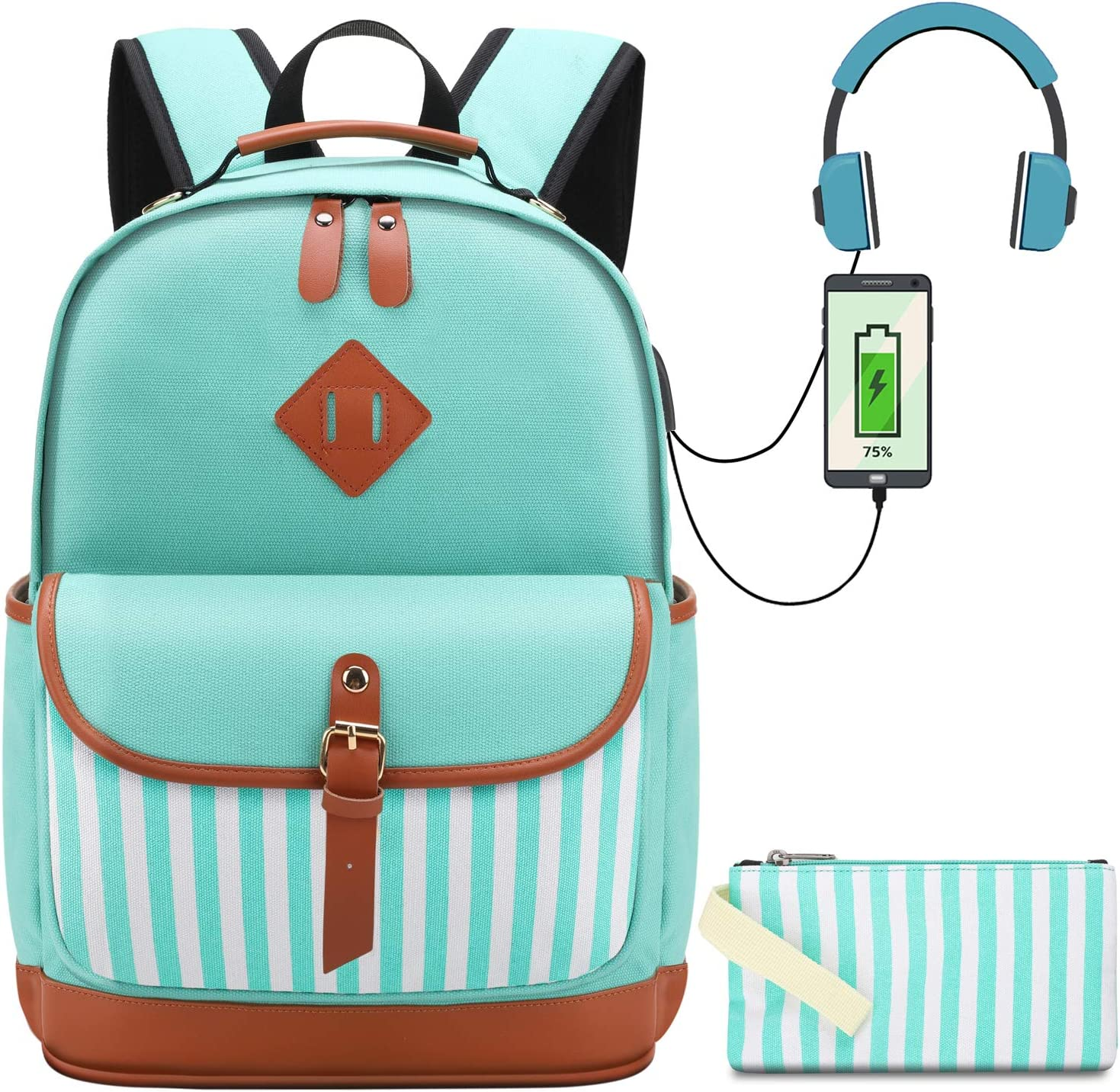 Girls Canvas School Backpack Set 2 in 1 with Pencil Bag College Laptop USB Backpack for Women Casual Daypack for Teen Girls (Green Stripe)