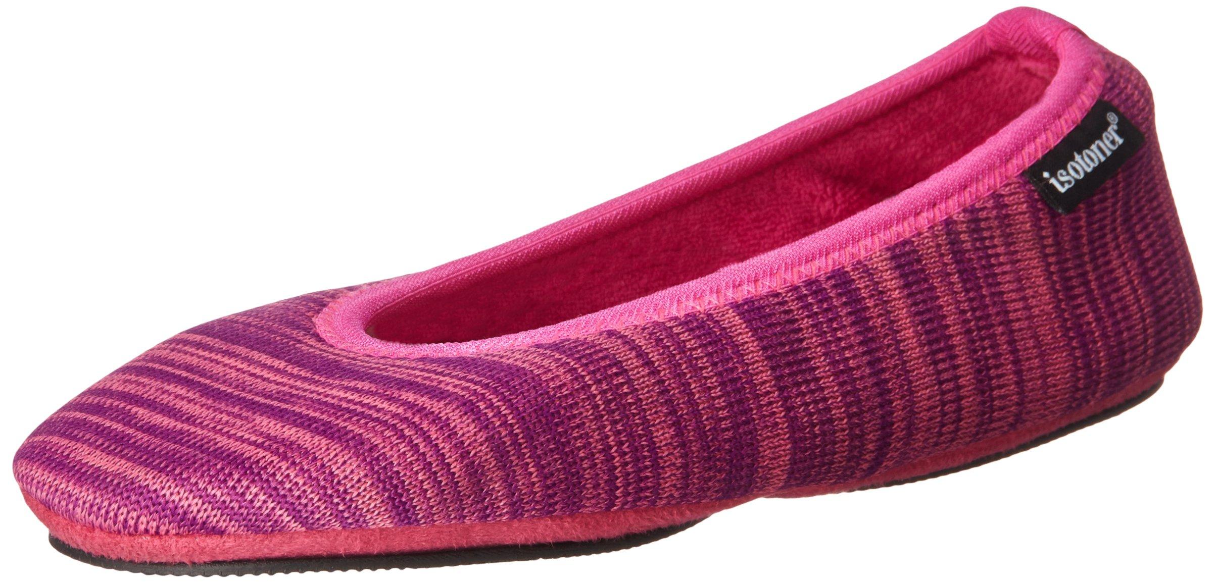 ISOTONER Women's Paris Ballet Slipper, Vivid Violet Space Dye, Large 8-9