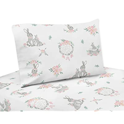 Sweet Jojo Designs Blush Pink and Grey Woodland Boho Dream Catcher Arrow Queen Sheet Set for Gray Bunny Floral Collection - 4 Piece Set - Watercolor Rose Flower: Baby