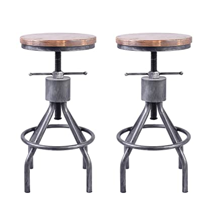 competitive price 5caf4 c720f LOKKHAN Vintage Industrial Bar Stool-Height Adjustable Round Wood and Metal  Swivel Bar Stool,Cast Iron Pub Height Stool,Assembly Not Required,22-34 ...