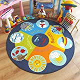 Superb Kids/Childs Rug Weather wheel Large Round 1.33m x 1.33m (4'4 x 4'4 approx)