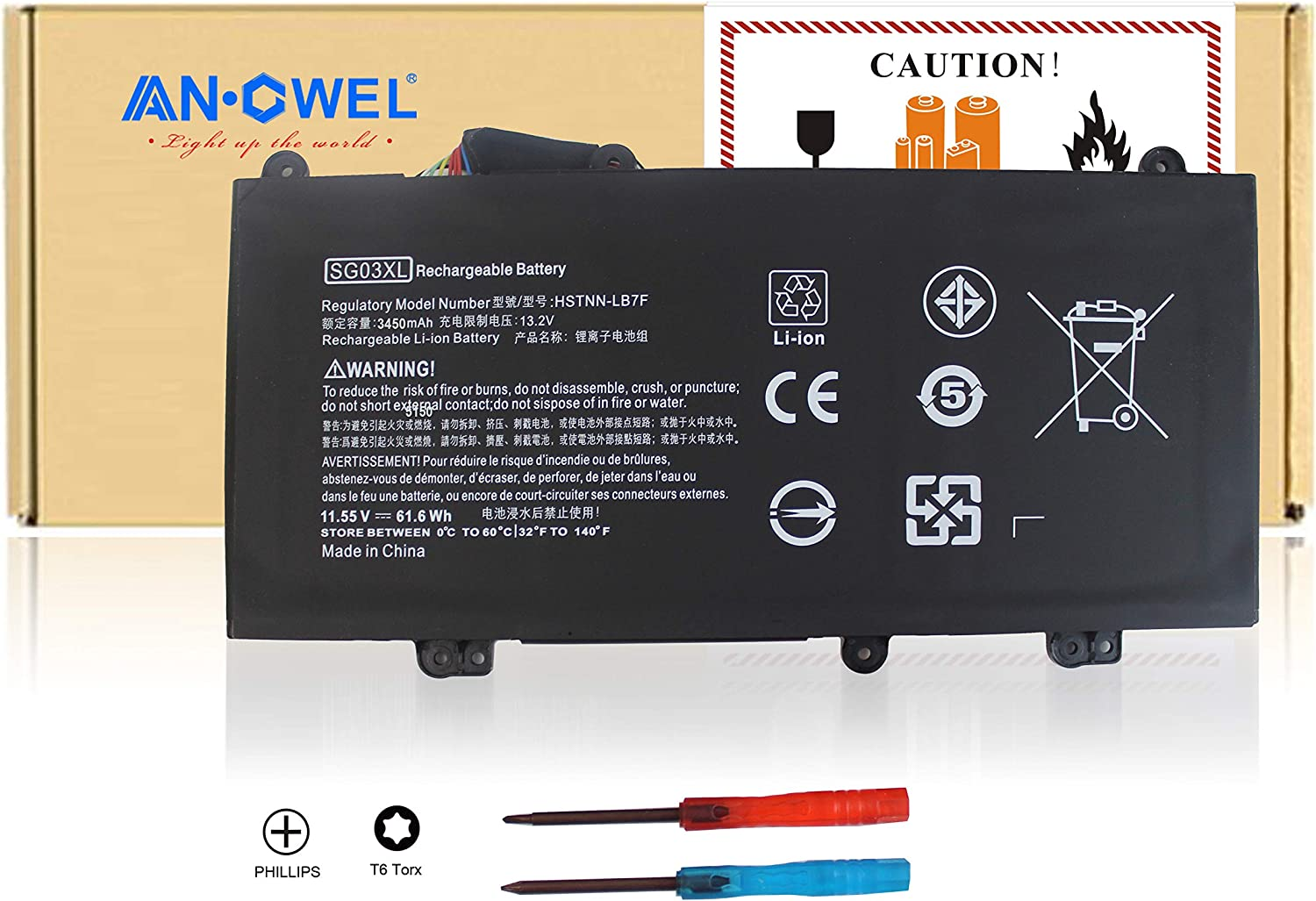 Angwel New SG03XL Laptop Battery for HP M7-U009DX 17t-U000 17-U011NR Notebook HSTNN-LB7F HSTNN-LB7E SG03041XL SG03061XL[11.1V 41WH]