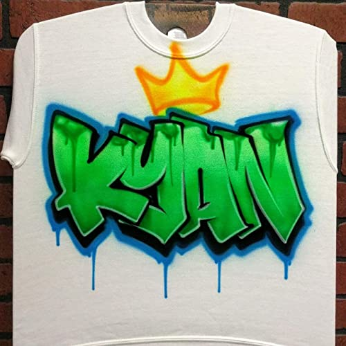 d4b31c5cb Amazon.com: Personalized Airbrush T shirt, Sweatshirt, or Hoodie - Graffiti  Crown Name Design: Handmade