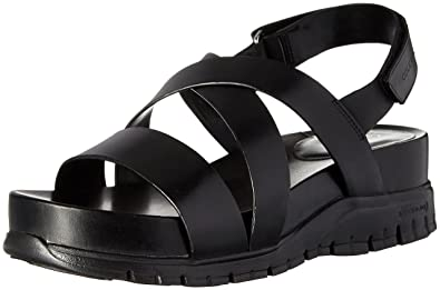 Womens Zerogrand Criss Cross Gladiator Sandal, Black/Black, 7.5 B US Cole Haan