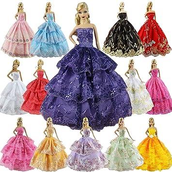ZITA ELEMENT 6 Sets Vestidos Barbies Hecha a Mano Vestidos Fiesta de Noche,Vino,