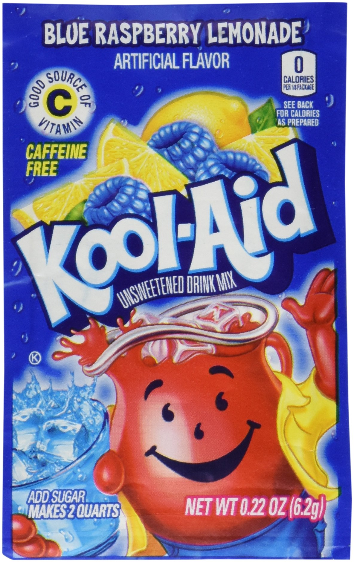 Kool-Aid Twists Soft Drink Mix - Ice Blue Raspberry Lemonade Unsweetened, Caffeine Free, 0.22 oz/envelope (Pack of 12)