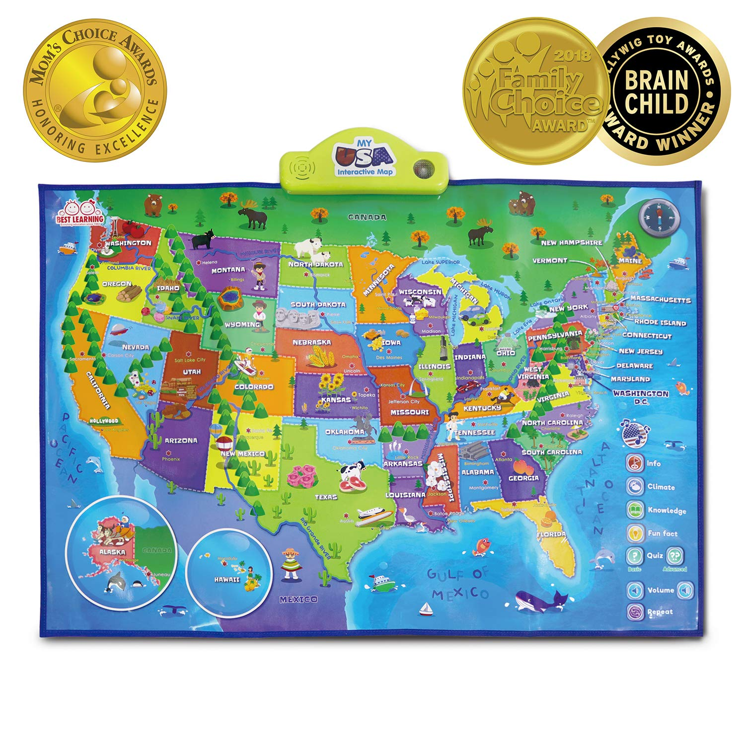 Map Of Usa Interactive.Amazon Com Best Learning I Poster My Usa Interactive Map