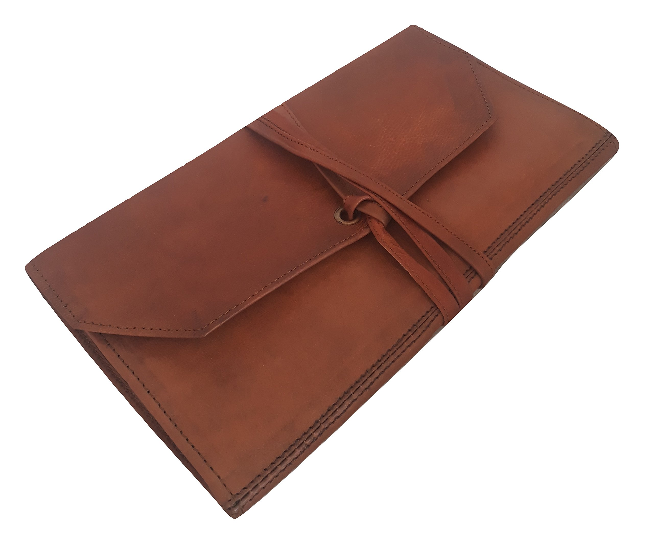 Real Leather Pen case Pencil Holder Stationery Pouch College Unisex Brown for Students Artists Great Organiser for Everyday Use