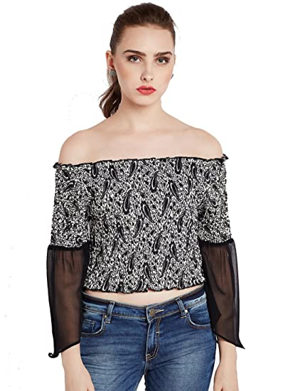 e4d205be89ca3 Rare Women Black Printed Bardot Top  Amazon.in  Clothing   Accessories
