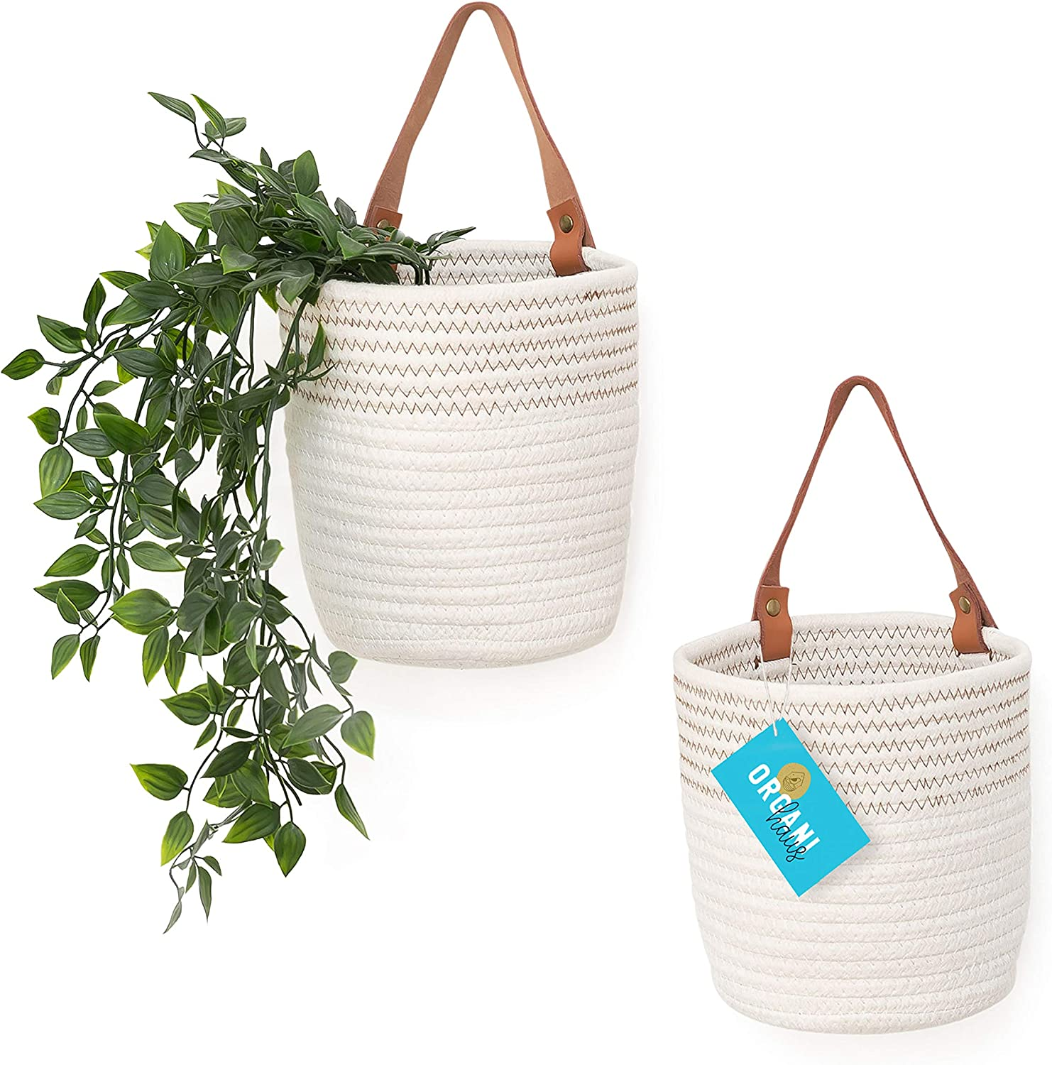 """OrganiHaus Hanging Woven Wall Basket Set with Genuine Leather Handles, Set of 2 Small Wall Mounted Farmhouse Baskets, Bathroom Wall Storage and Plant Hanger, 7"""" x 6"""" - White w/ Stitches"""