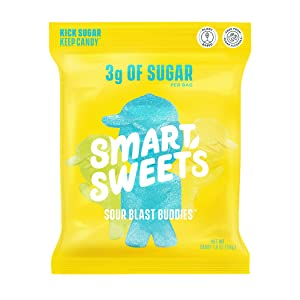 SmartSweets Low Calorie Plant-Based Free From Sugar Alcohols Candy, Sour Blast Buddies, 1.8 Ounce (Pack of 12), 21.6 Ounce