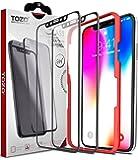【2枚セット】TOZO iPhone X フィルム 強化ガラス液晶保護フィルム ガイド枠付き フルカバー [ブラック]