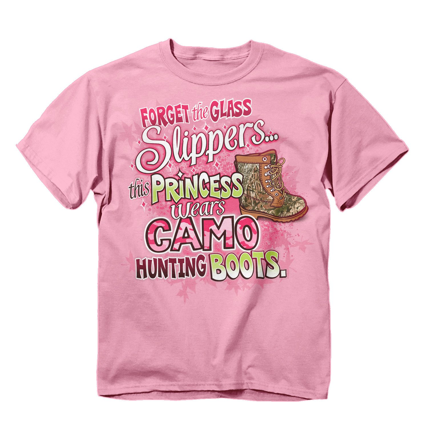Buck Wear Girl's Camo Hunting Boots T-Shirt (5 oz. Range), Pink, X-Small