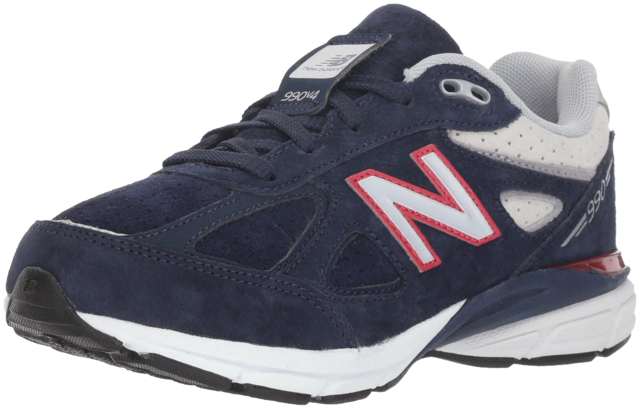 New Balance Boys' 990v4 Sneaker, Blue/Red, 6.5 M US Big Kid
