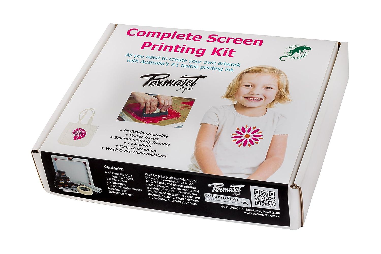 Permaset - Set per serigrafia su stoffa e magliette, colori ecologici, sagome incluse nella confezione SR028001
