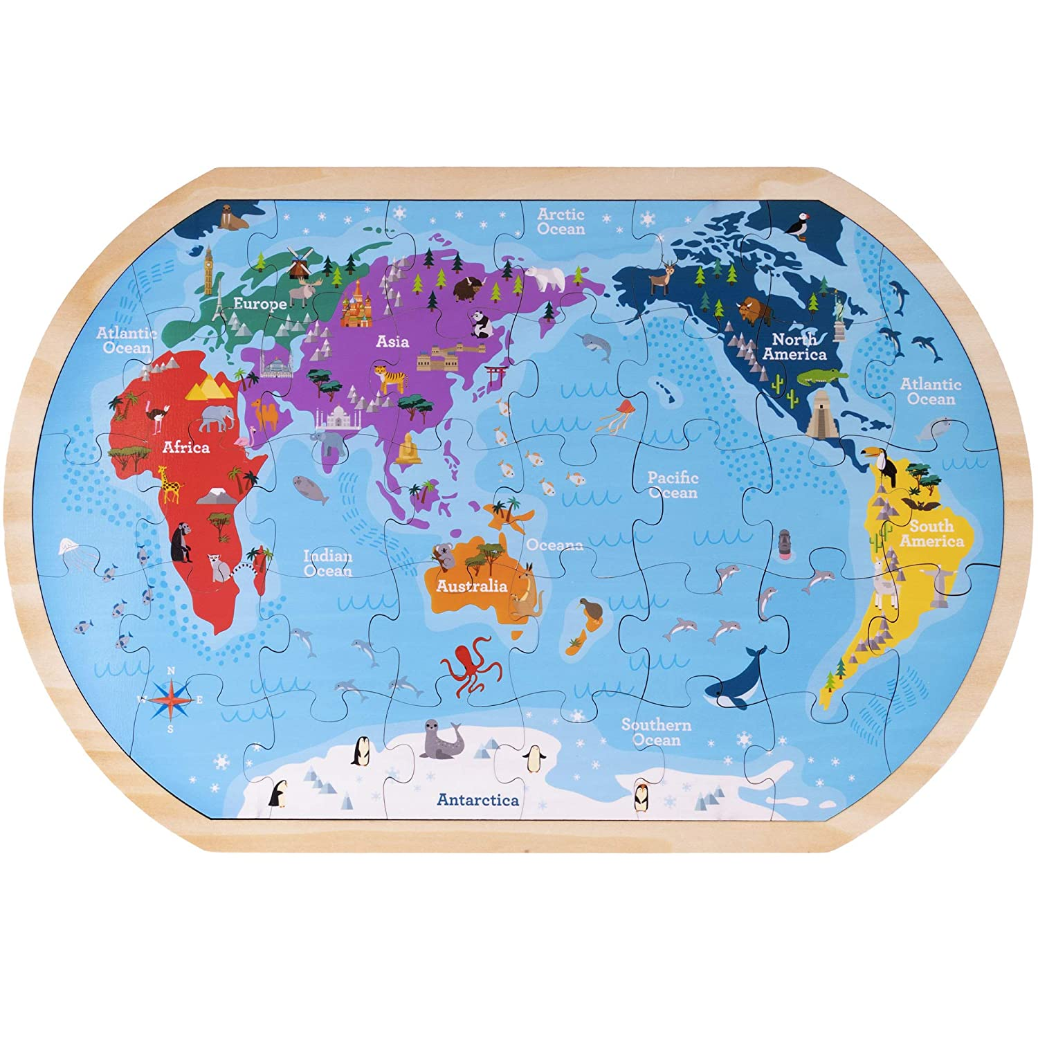 Whole Map Of The World.Amazon Com Professor Poplar S Whole Wide World Map Jigsaw Puzzle