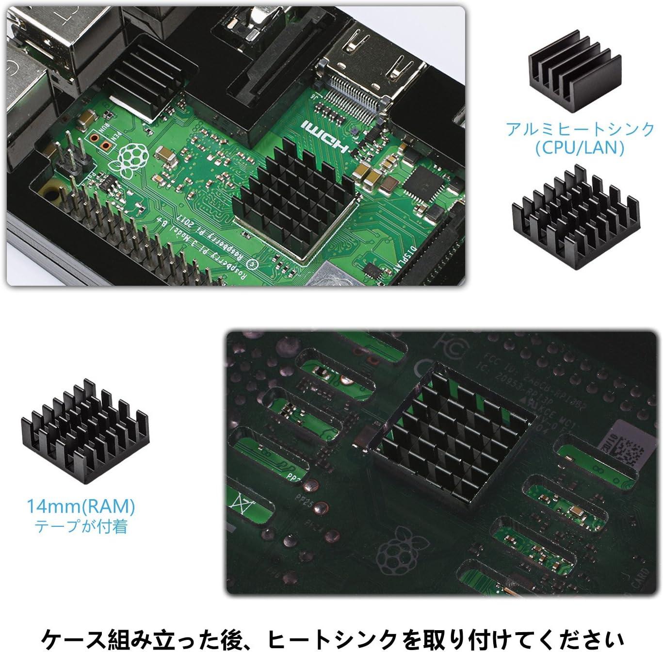 Para Raspberry Pi 3 b+ Caja + Cargador con Conector ON / OFF + 3 x Disipador + Ventilador Compatible con Carcasa ...
