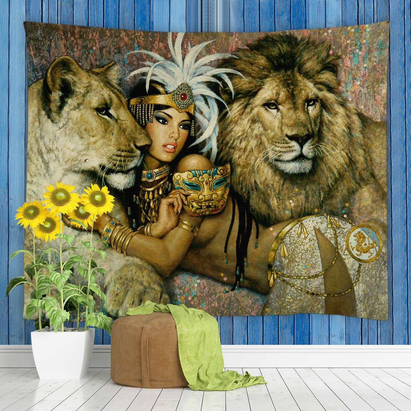 jingjiji African Animal Tapestry Lion Retro Ethnic Tribe Sexy Woman Oil Painting Art Wall Hanging Tapestries Decor Bedroom Living Room Dorm Polyester Fabric 70 x 70 Inch Brown