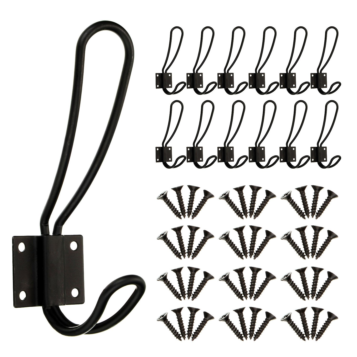 BBTO 12 Pieces Black Big Wall Mounted Rustic Hook Robe Hooks Double Coat Hangers and 48 Pieces Screws (Black)