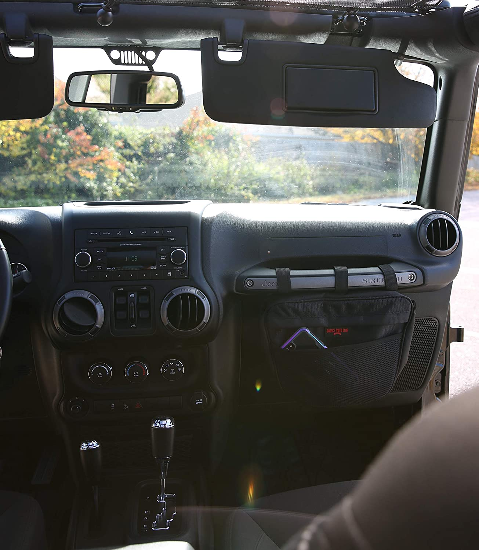Tools Mount to Passenger Grab Handle Badass Moto Gear Jeep Wrangler Storage Pouch Sunglasses for JK TJ YJ CJ JL 4350407781 Waterproof Interior Accessories Organizer Bag Handles Phone EZ Access Mesh Pocket