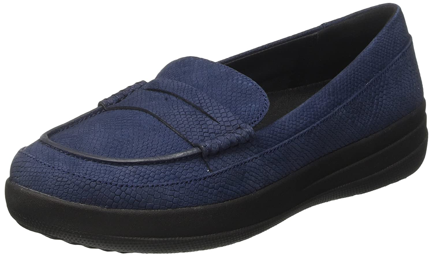 Fitflop F-Sporty Penny Loafer Snake, Mocasines para Mujer 37.5 EU|Azul (Midnight Navy Snake-embossed)