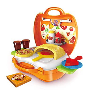 Hunson Deluxe Pizza Suitcase (Pretend Food Play Set): Toys & Games
