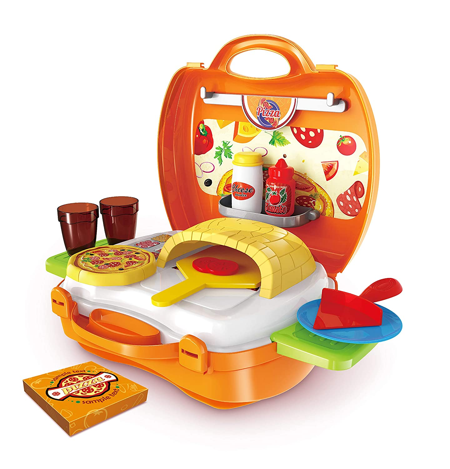 Hunson Deluxe Pizza Suitcase (Pretend Food Play Set)