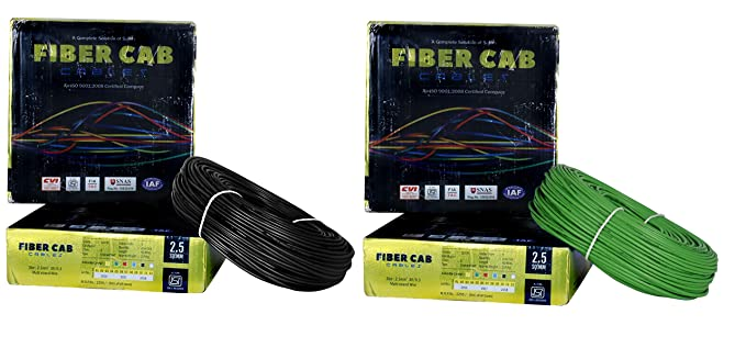 D�Mak� Fiber-Cab PVC Insulated Wire 2.5 SQ/MM Single Core Flexible Copper Cables for Domestic/Industrial Electric | Electric Wire | | 2.5 sqmm Cable | | Electrical Wire | (Black and Green,Pack of-2)