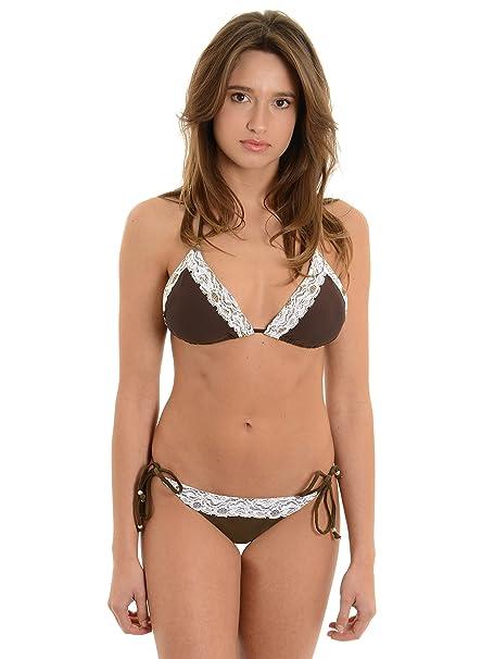 ad95578766 Plunge Junior's Brown Bikini 2 Piece Bathing Suit Set Adjustable Lace Swimwear  Sizes: XS